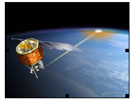 Fig. 2 Artist's conception of the AIM spacecraft in orbit, showing the line of sight of the SOFIE solar occultation experiment (courtesy, J. Russell III